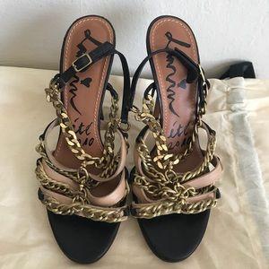 Lanvin Black & Beige leather & chain 38.5 sandal
